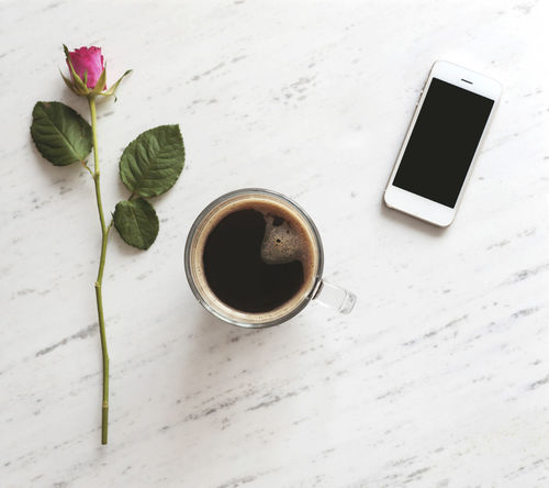 Coffee - Drink Coffee Cup Communication Drink Flower Roses Still Life Table