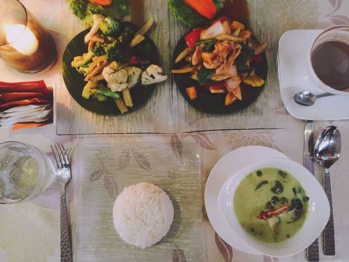 2016:0330 Thailand trip タイ料理はおいしいけれど辛かった。 Food Meal Dinner Vacation Food And Drink Plate Table Thailand Trip Kosamui