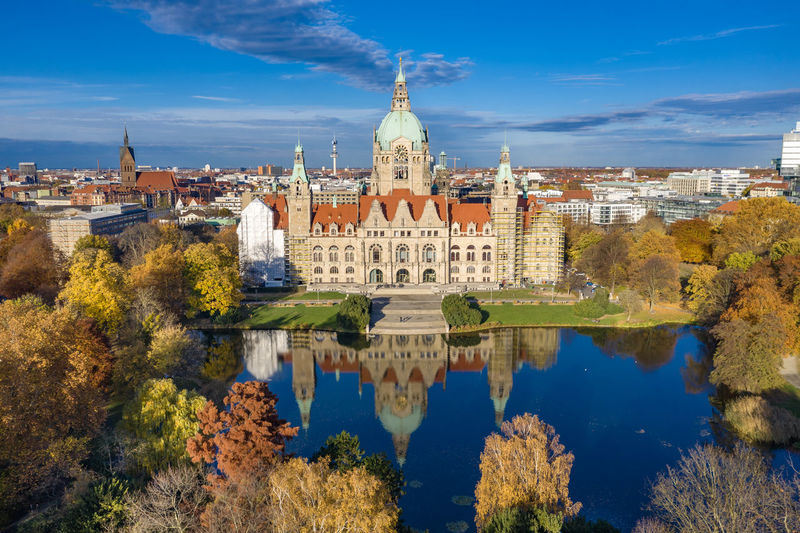 Neues Rathaus, Hannover from above Dronephotography Aerial View Architecture Autumn colors Building Clouds And Sky Lake Day Nature Building Exterior Travel Destinations
