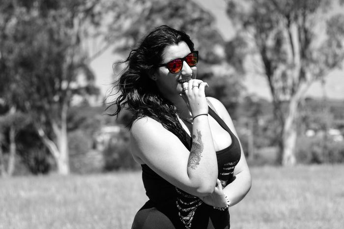 Sunglasses Selective Color Day One Person Young Women Nature Beautiful Woman Young Adult Outdoors Blackandwhite Canon80d Portrait Portrait Of A Woman Portrait Of A Friend Portrait Photography Girl Besutiful Sunglasses :) Tattoo