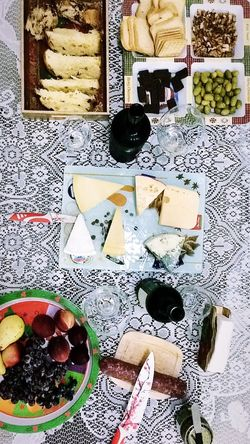 Os prazeres da vida. Dinner Wine Cheese High Angle View Healthy Eating Table Food And Drink Fruit Indoors  Directly Above