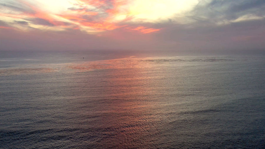 Scenic view of seascape against sky during sunset