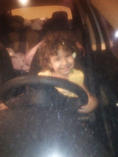 Little Sweetie Zeynep She Is Driving Her Father's Car .(Of Course It Doesn't Work. Just Stopping. Window Transportation Land Vehicle Lifestyles Street