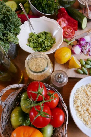 High Angle View Of Fresh Vegetables On Table