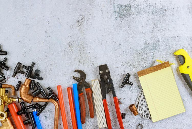 High angle view of tools on metal