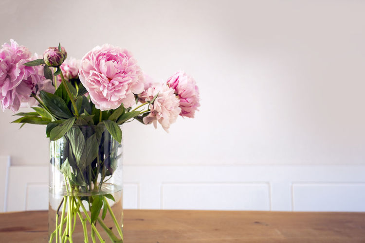 Close-up of pink flower vase on table against wall
