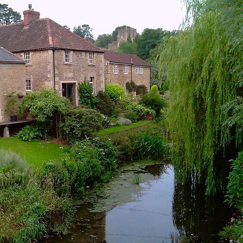 English Countryside English Garden Englishcountryside Stream Weeping Willow Weepingwillow Stonework Stonehouse Stone House Garden Garden Photography Gardens