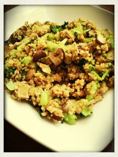 Health Food ... enjoying a healthy homecook mushroom+vege with quinoa