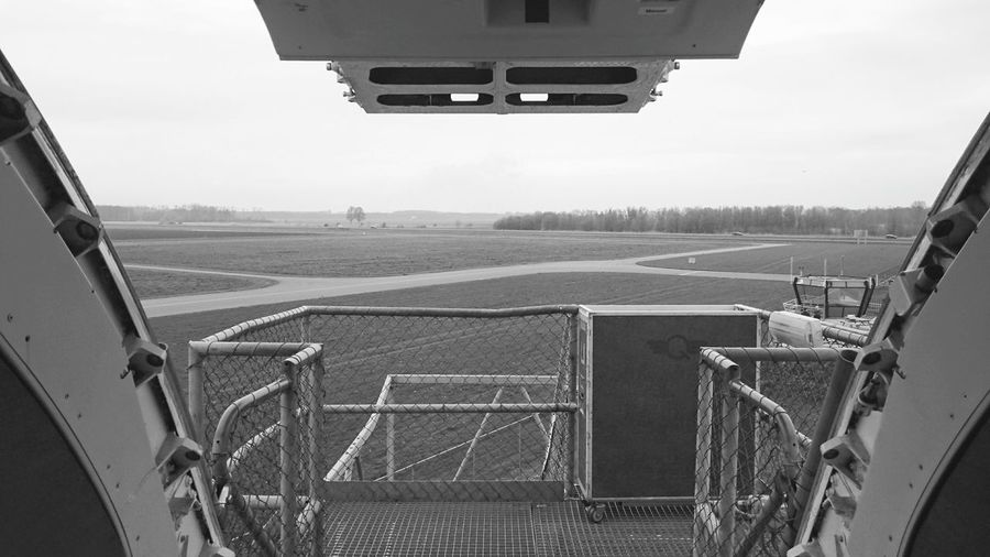 Railings against the airport field