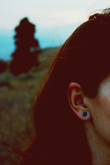 Raw. Girls With Gauges Gauges Outdoors Self Portrait Mountain Top