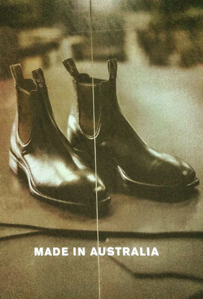 Australian made Taking Photos Aussie Aussie Aussie, Oi Oi Oi I Come From A Land Down Under Australia Aussie Made In Australia Western Script Text Australia 🇦🇺 Signs Sign Aussies Shoes Footwear RMWilliams Boots Madeinaustralia Leather Boots Australian Advertising Signs Poster Advertising Poster Advertising Photography Advertising Bootspotting Poster Collection Advertisingphotography Boots❤ Boots Are Made For Walking Boots :)