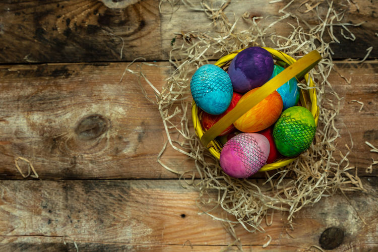 happy Easter bright, colorful, beautiful background Colors Colorfull Colorful Bright Handmade Traditional Basket Card Design Copy Space Happy Easter Multi Colored Easter Easter Egg Celebration Egg Close-up Wicker Whicker