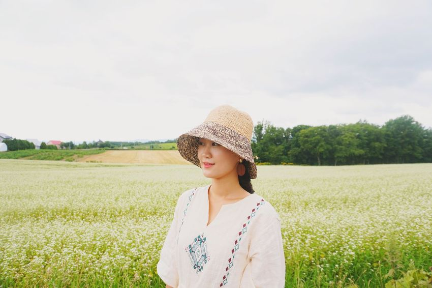 EyeEm Selects Hokkaido Japan Field Agriculture One Person Cereal Plant Growth Rural Scene Young Women Nature Young Adult Women Standing Outdoors Day Sky Only Women Headshot Adult Real People Portrait One Woman Only Photography Photo
