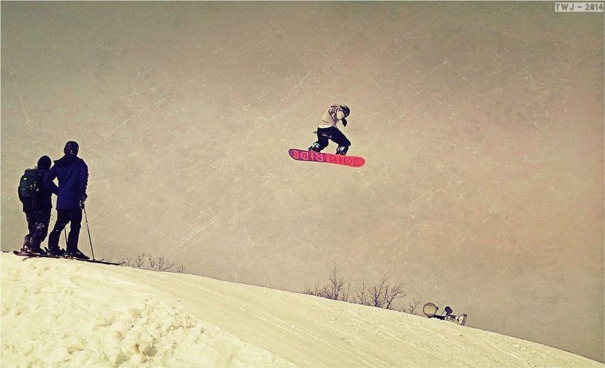 Snowboarding Park Slope Jumping