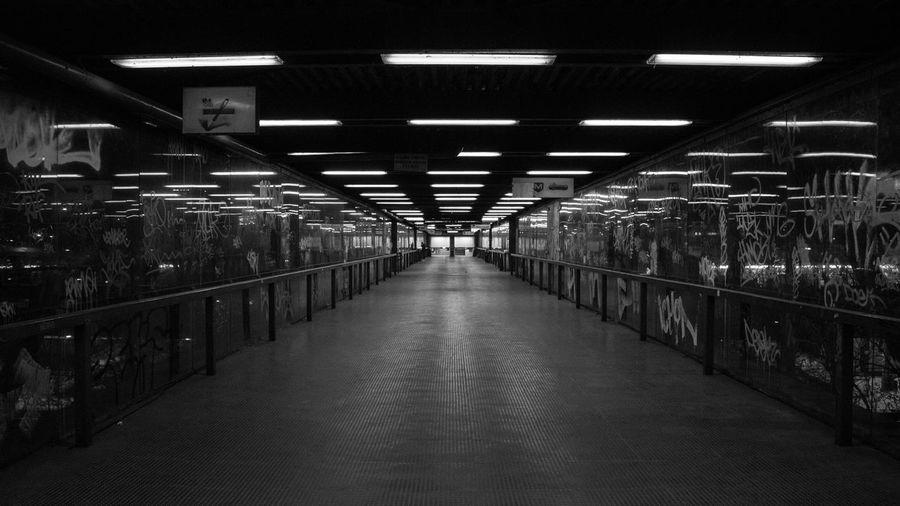 Interior Of Empty Illuminated Corridor