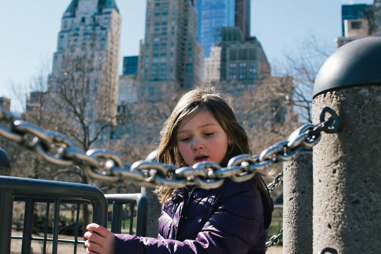 Portrait Of Girl In New York City Park