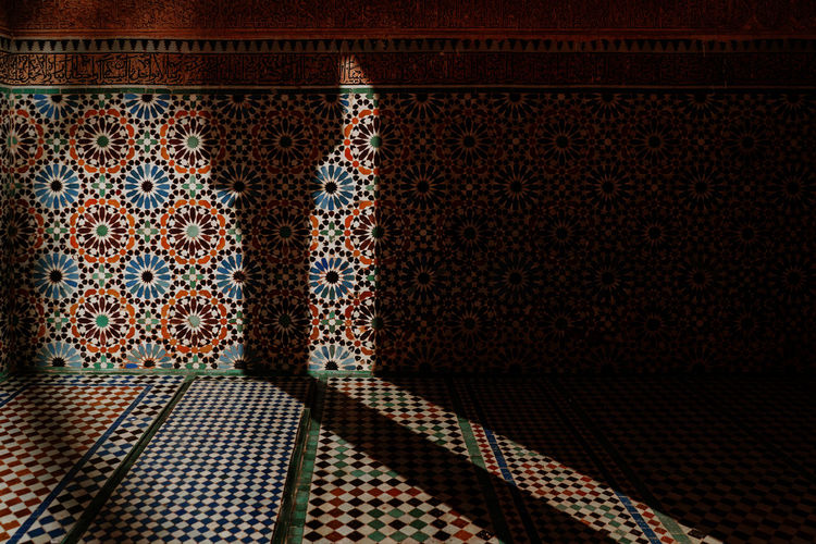 Marrakech Marrakesh Morocco Travel Destinations Tourist Attraction  Mosaic Wall - Building Feature Ornate Creativity Tiled Floor Architecture Material Multi Colored Indoors  Design No People Flooring Craft Tile Pattern Floral Pattern
