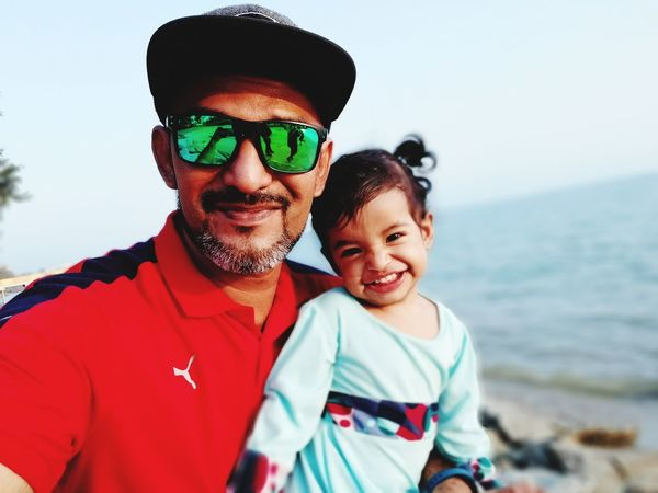 daddy&princes selfie..she smile was killing me.. Sunglasses Togetherness Smiling Happiness Sea Portrait Family With One Child Adult