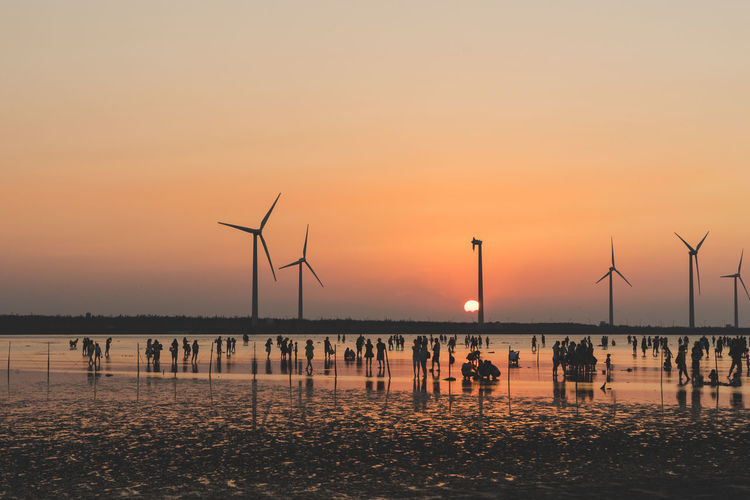 Alternative Energy Environmental Conservation EyeEmNewHere Nature Outdoors Renewable Energy Sea Sky Sunset Taichung Taiwan Twilight Water Wind Power Wind Turbine Windmill EyeEmNewHere