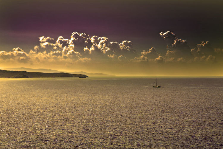 Calm view to the sea (with some post-processing filters). Aegean GREECE ♥♥ Beach Beauty In Nature Cloud - Sky Day Greece Horizon Over Water Nature Nautical Vessel No People Outdoors Scenics Sea Silhouette Sky Sunset Tranquil Scene Tranquility Transportation Water Waterfront