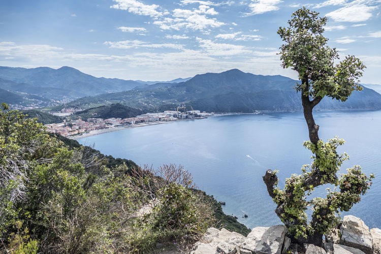 Panoramic aerial view of riva trigoso from punta manara