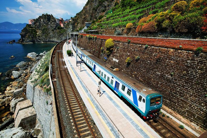 Train on railroad tracks by sea