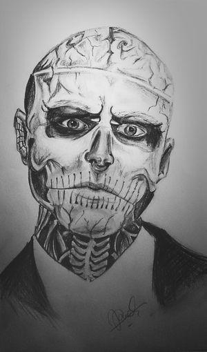 Portrait of Zombie Boy, 2013 Portrait Face Tattoo Zombie Zombieboy Sketching Drawing Illustration My Work My Art Blackandwhite Shadows Model Project