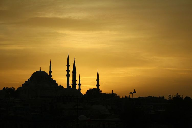 Architecture Atmospheric Mood Building Exterior Dome Istanbul Mosque Orange Color Place Of Worship Religion Romantic Sky Sky Sunset Sunset Silhouettes Tourism Travel Destinations Turkey