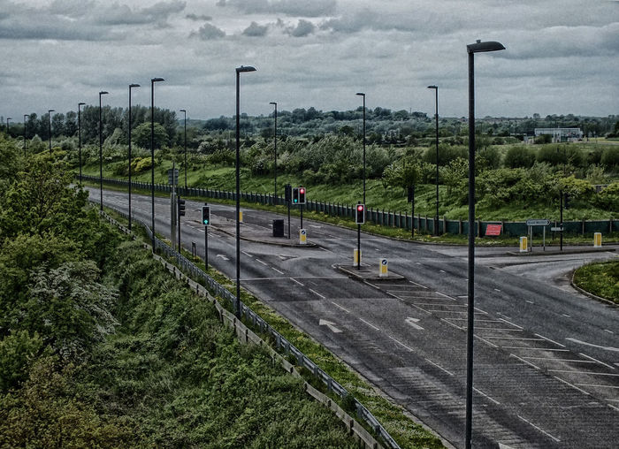 Choices Day Diminishing Perspective Empty Junction Lights No People Overcast Road Street Light Swindon Wichelstowe