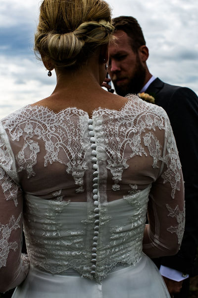 Bottons Dress Romance Botton Bride Bridegroom Celebration Celebration Event Day Full Frame Full Length Groom Lace Life Events Lifestyles Outdoors Real People Sky Standing Two People Wedding Wedding Dress Young Adult Young Women