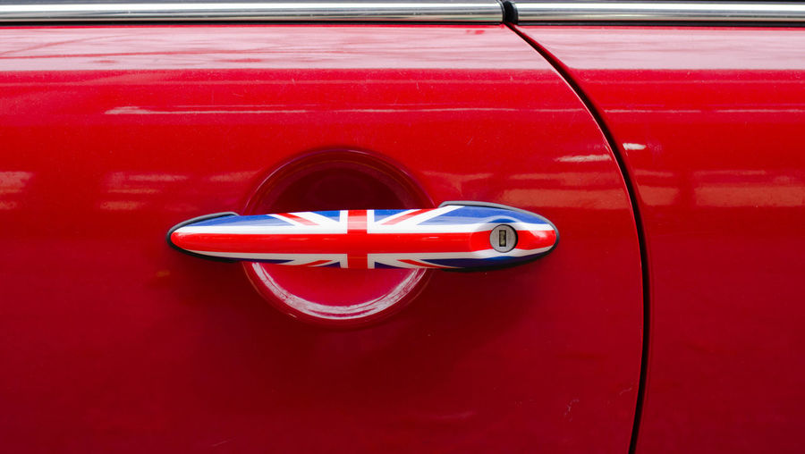 Close-Up Of British Flag On Car Door Handle