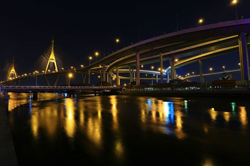 Reflection Night Architecture Transportation Built Structure No People Outdoors Flood Solving Night Lighting Bhumibol Bridge Chaophraya River Diversion Conception Chain Bridge Lat Pho Canal Canal