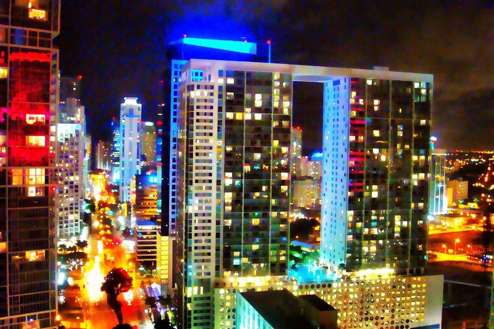 Illuminated Night City Architecture Building Exterior Modern Built Structure City Life Cityscape Skyscraper Outdoors Neon No People Sky EyeEm EyeEm Team Citylights Florida Miami Heaven 🇺🇸☀️FL Brickell-Miami