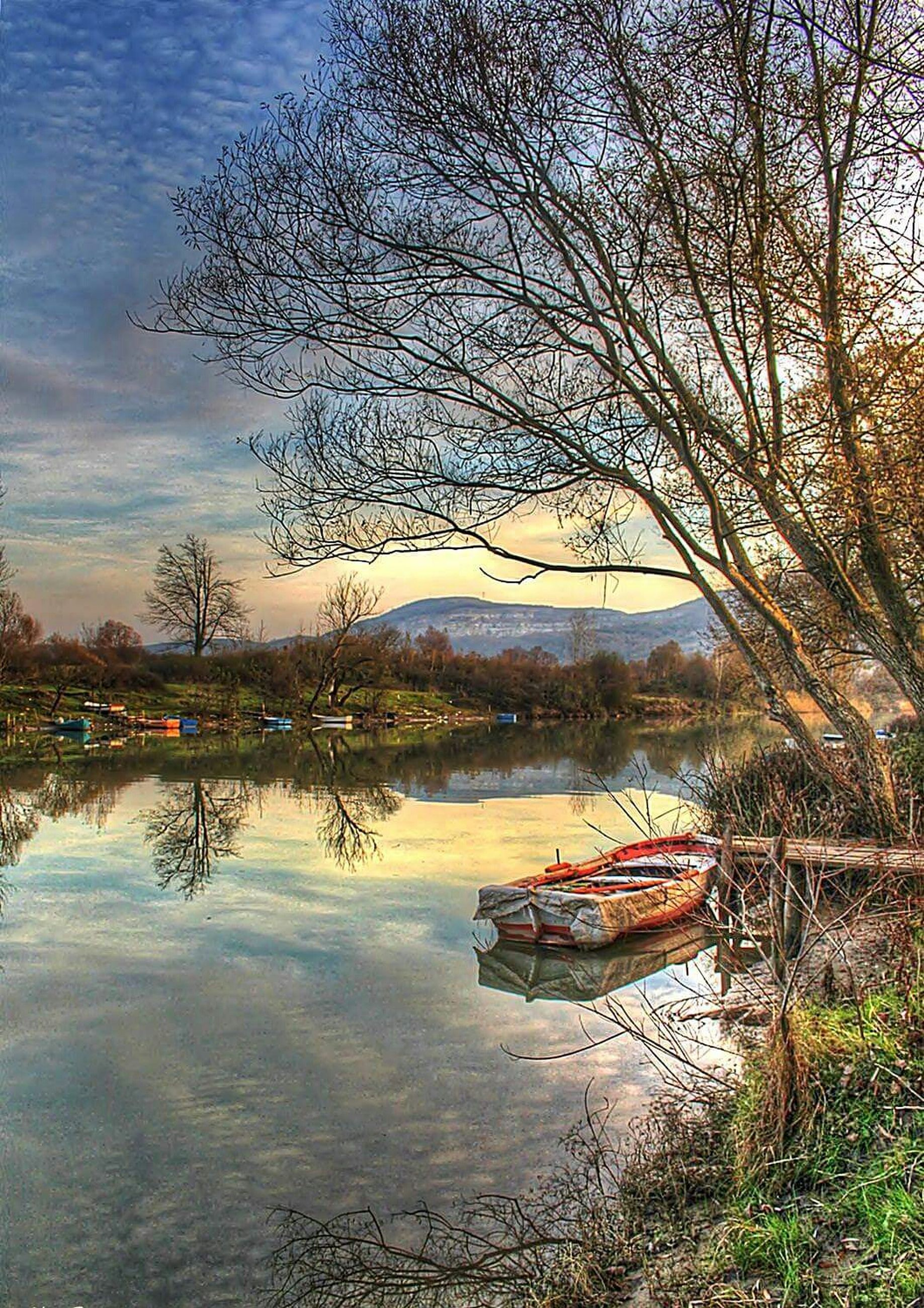 nautical vessel, boat, water, transportation, mode of transport, moored, tree, lake, tranquility, sky, reflection, tranquil scene, nature, beauty in nature, scenics, river, waterfront, bare tree, travel, branch
