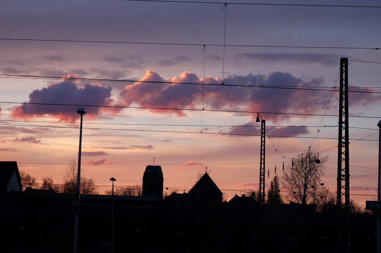 sunset, cloud - sky, sky, architecture, built structure, building exterior, silhouette, no people, cable, outdoors, electricity pylon, tree, nature, city, beauty in nature, day