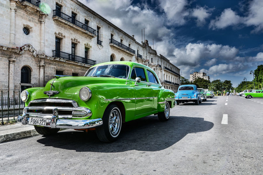 Another Classic Car in Cuba Architecture Blue Color Building Exterior Car Cityscape Classic Classic Car Cloud Cloud - Sky Cuba Cuba Collection Culture Great Views Green Color Greencar Havana Reflection Sunny Day Tires