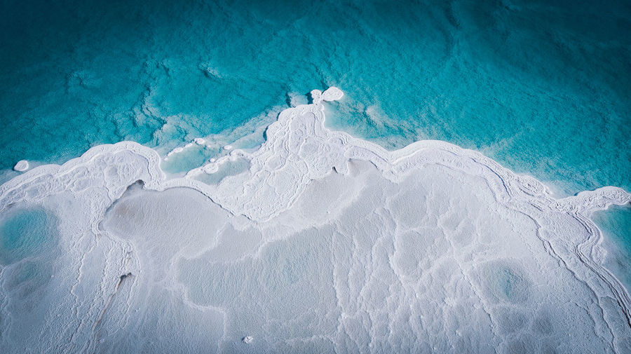 High angle view of salt formation in the dead sea