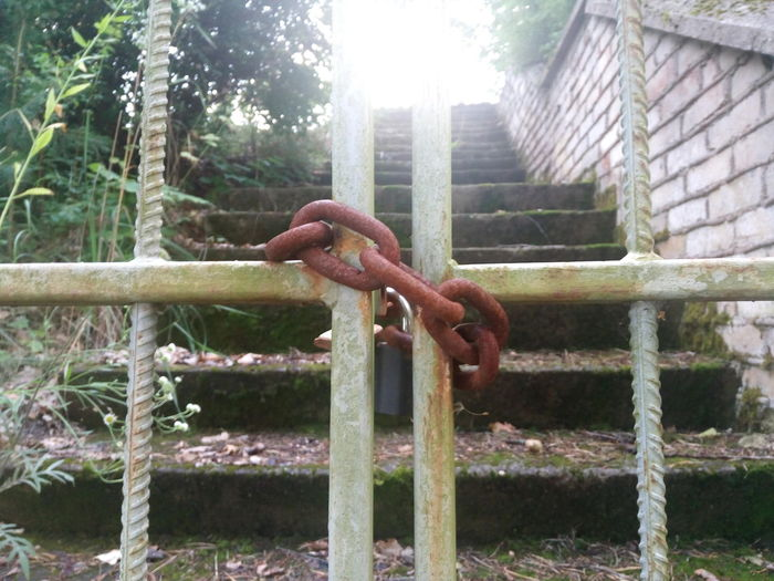 Close Gate Chain Metal Rusty Outdoors No People Day Hanging Close-up Prison Live For The Story