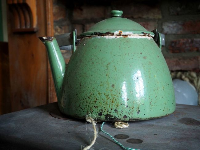 (c) 2016 Jana Kaffka Close-up Dirty Dishes Fashioned Focus On Foreground Freshness Green Green Color Interior Metal Metallic No People Old Old School Tea Pot Teapot Vessel Vintage