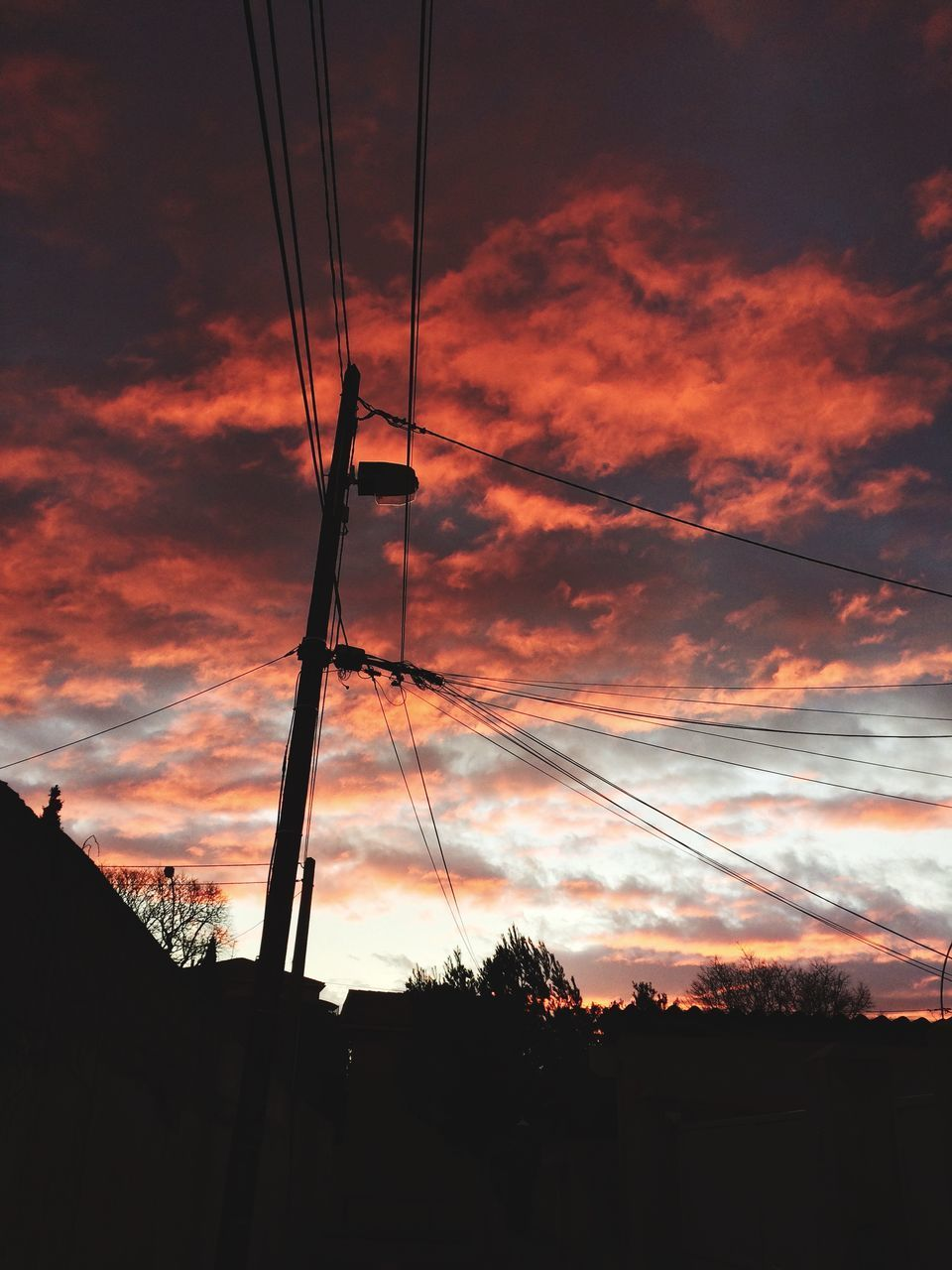 sky, sunset, silhouette, cloud - sky, cable, no people, architecture, electricity, power line, low angle view, orange color, nature, built structure, connection, electricity pylon, beauty in nature, power supply, technology, building exterior, dusk, outdoors, complexity, telephone line