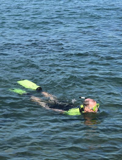 Man snorkeling in the sea Water Sea Nature Outdoors UnderSea Beauty In Nature Swimming Snorkeling Sport Water Sea Sportsman Summer Vocation Relaxing One Person Man