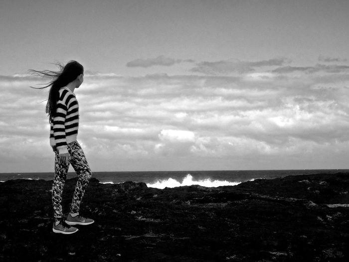 Long Goodbye Horizon Over Water One Person Standing Real People Full Length Sea Sky Leisure Activity Water Nature Young Women Outdoors Lifestyles Scenics Beauty In Nature Beach Day Surf View Rocks Rock Girl Monochrome Blackandwhite