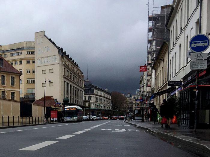 Architecture Le Bon Marché Street Grey Sky Paris Streets Paris Bus