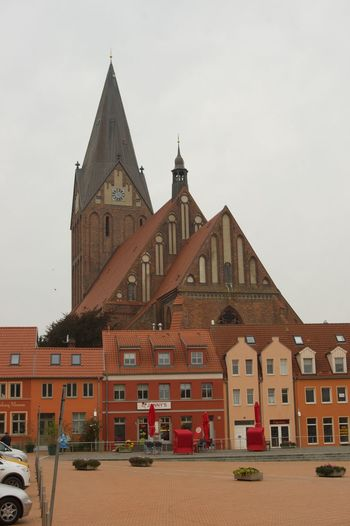 Church in Barth Architecture Brickstones Building Exterior Built Structure Church Clear Sky Day Façade History No People Outdoors Panorama Place Of Worship Sky Spire  Town