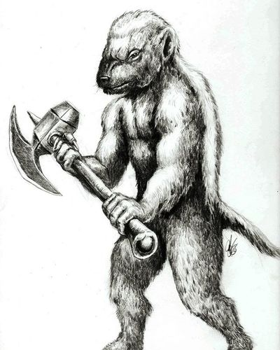 H. Badger; brings a Hammer axe to the party. Sketch Drawing Art Fantasy Conceptart HoneyBadger Honeybadgerdontcare Creature Badass Warrior Crosshatching Blackandwhite Battleaxe Anthropromorphic