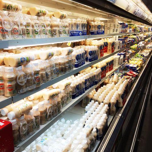 Food on display in refrigerator at supermarket