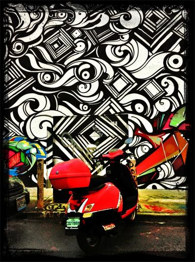 Street Art Red Scooter