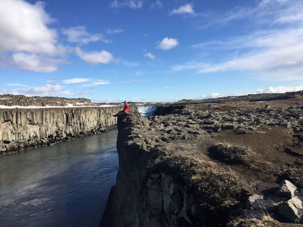 Iceland Sky Cloud - Sky Rock Nature Real People Rock - Object Day Tranquil Scene Beauty In Nature One Person Tranquility Leisure Activity Scenics - Nature Water Lifestyles Standing