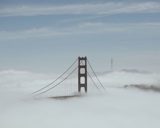 Hidden in the clouds Fog Golden Gate Bridge San Francisco Bay San Francisco No People Sky Nature Built Structure Architecture Land Day Tranquility Outdoors Bridge - Man Made Structure Tranquil Scene Suspension Bridge Bridge Beauty In Nature