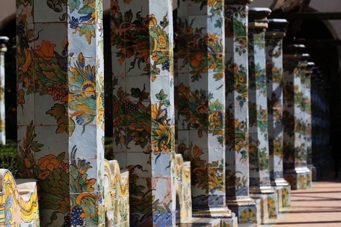 Artistic Columns Ceramic Art Day Decorated Garden Italy Monastero Santa Chiara Napoli No People October 2016 Outdoors Perspective